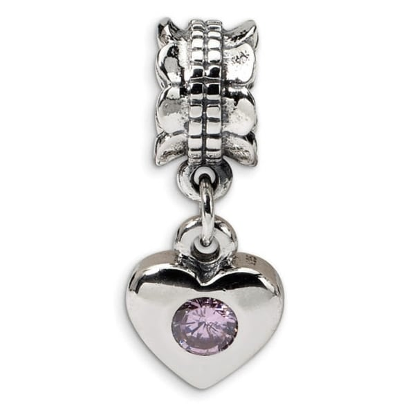 Sterling Silver Reflections Pink CZ Heart Dangle Bead (4mm Diameter Hole)