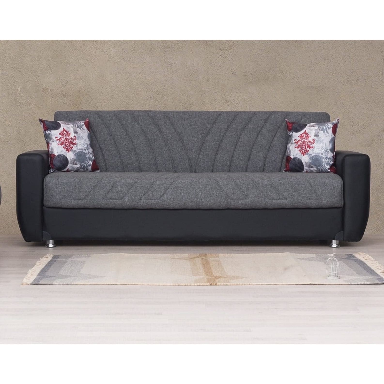 Shop Baltimore Grey And Black Convertible Sleeper Sofa With Storage On Sale Overstock 32086650