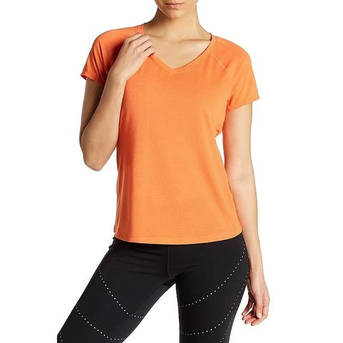 Zella Orange Women's Size Large L V-Neck Mesh Active Knit Top
