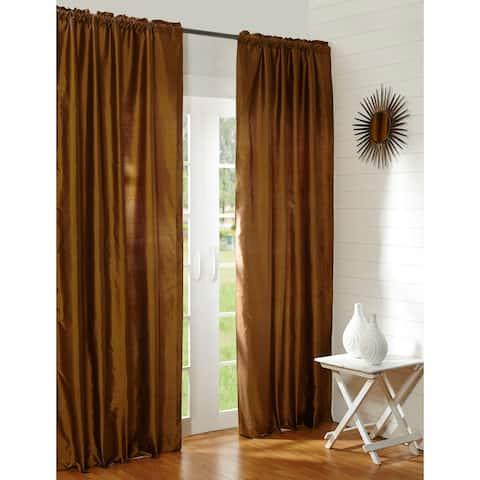 Radia Brown Silk Rod Pocket 84 Inch Single Curtain Panel