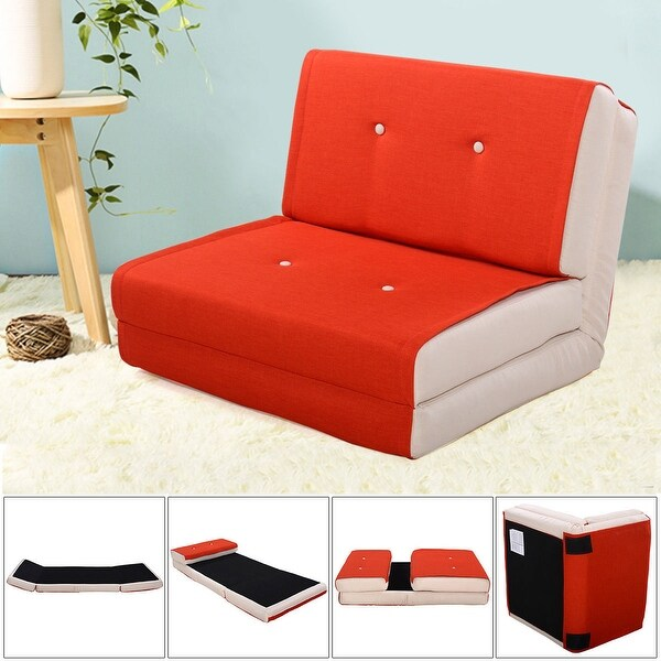 Costway Fold Down Chair Flip Out Lounger Convertible Sleeper Bed Couch Dorm Orange