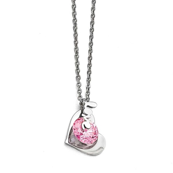 Chisel Stainless Steel Polished Heart with Love & Pink CZ Necklace - 17.5 in