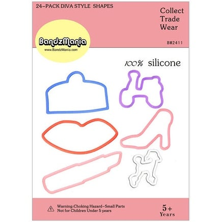 24 Pack Diva Silly Shaped Rubber Bands by BandzMania