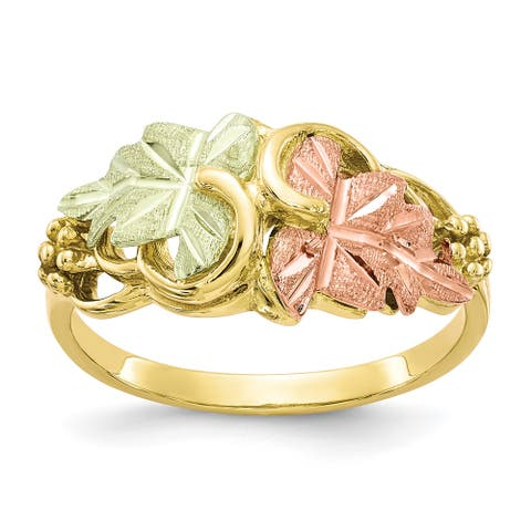 10K Yellow Gold with 12K Rose and Green Accent High Polished Black Hills Flower Ring