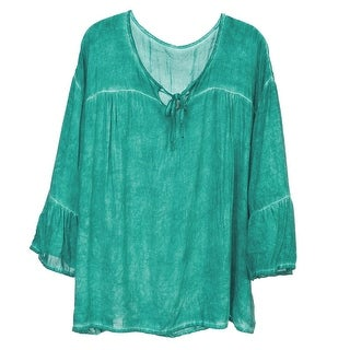 Howard's Jewelry Women's Stonewashed Top-Tunic Cut 3/4 Bell Sleeve V-Neck Blouse