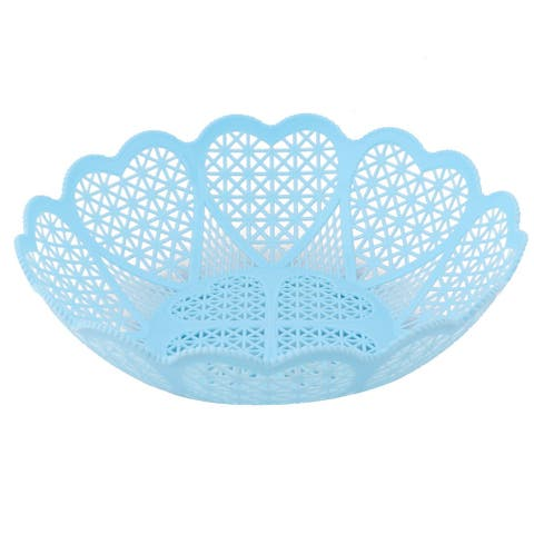 Home Kitchen Plastic Hollow Out Wavy Edge Design Fruit Storage Basket Tray Blue