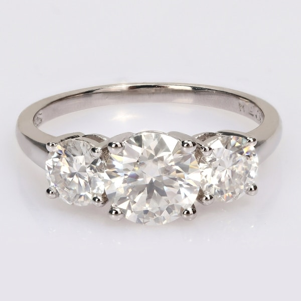 Miadora 2 1/4ct DEW Moissanite 3-Stone Engagement Ring in Sterling Silver. Opens flyout.