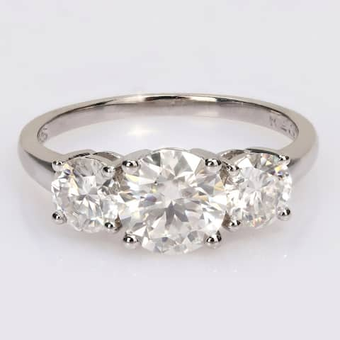 Miadora 2 1/4ct DEW Moissanite 3-Stone Engagement Ring in Sterling Silver