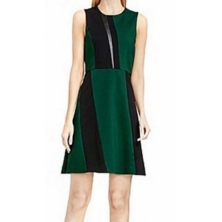 Vince Camuto NEW Green Black Womens Size 12 Faux-Leather Sheath Dress