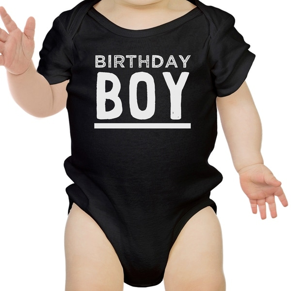 Birthday Boy Gift Baby Bodysuit Cotton Black Easy Snap-On Velcro