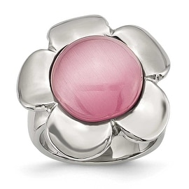 Stainless Steel Pink Cat's Eye Flower Ring (4 mm)