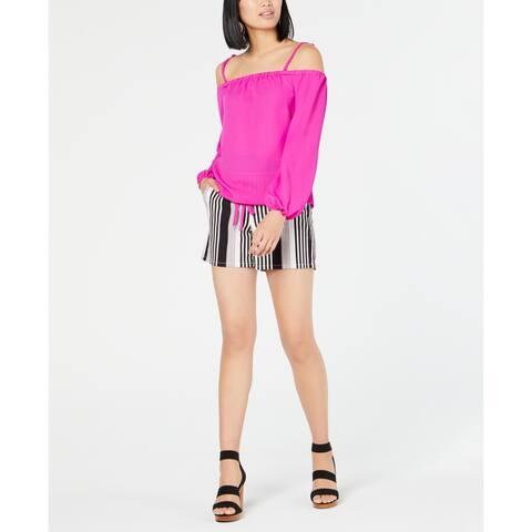 INC International Concepts Women's Striped Paper Bag Tie-Front Shorts, Black, M