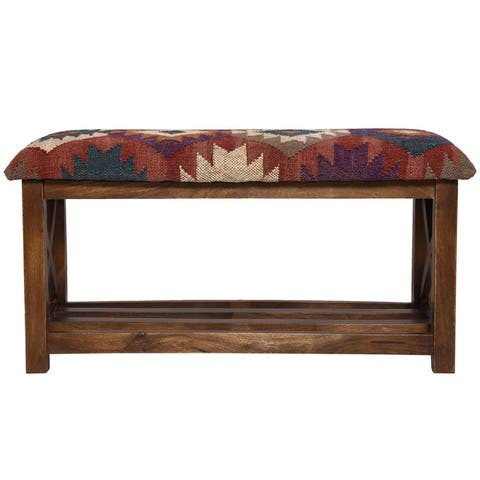 "Handmade Kilim Upholstered Storage Bench (India) - 32""W x 14""L x 16""H"
