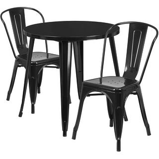 Brimmes 3pcs Round 30'' Black Metal Table w/2 Cafe Chairs