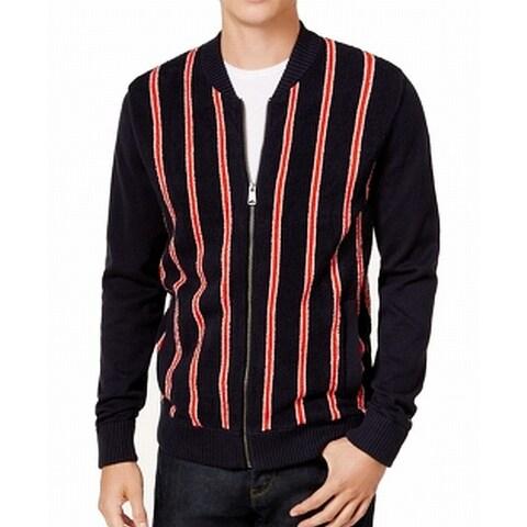 Tommy Hilfiger Red Mens Full Zip Stripe Sweater
