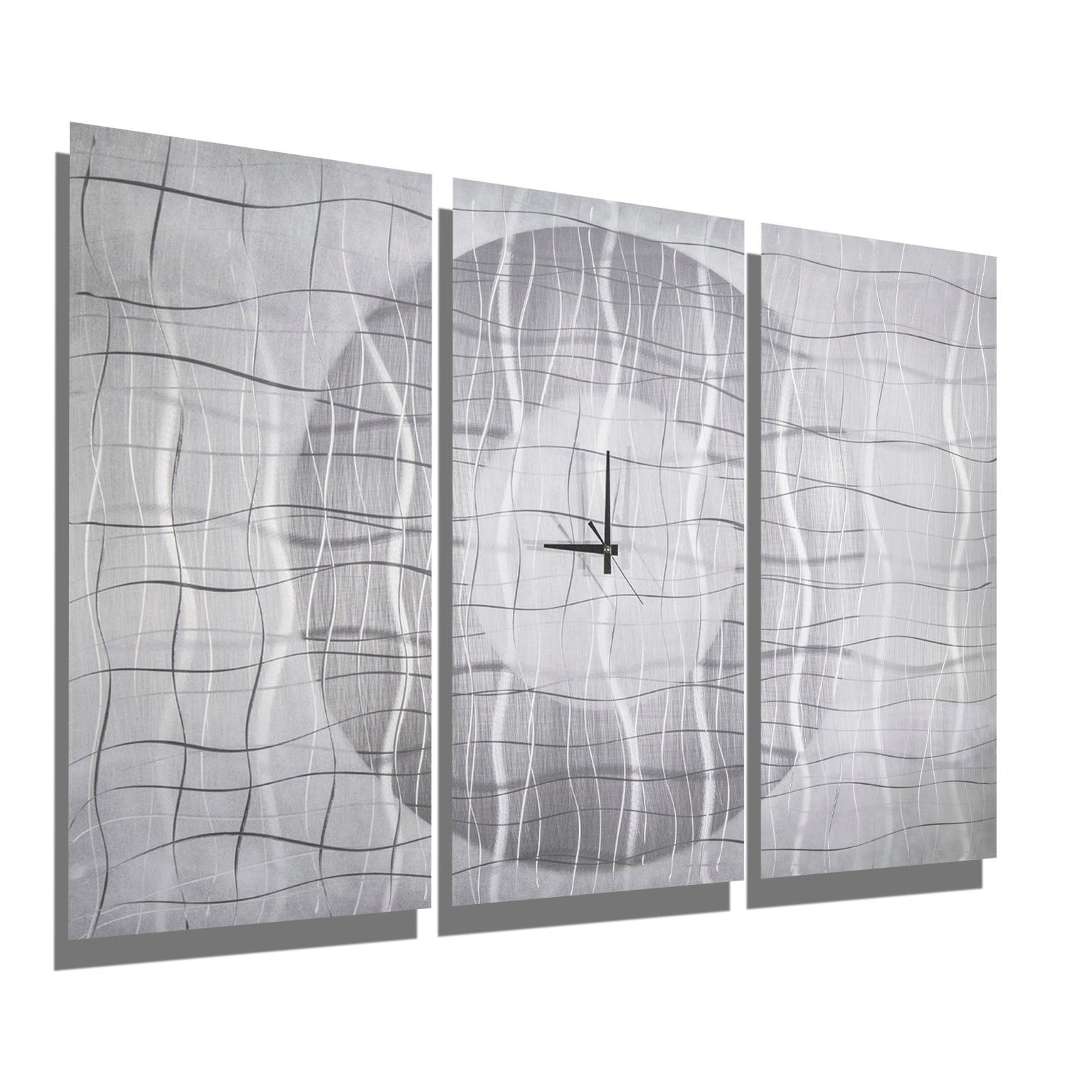 Statements2000 Silver / White 38-inch Modern Metal Panel Wall Clock - Contemporary Vibrations - Thumbnail 0