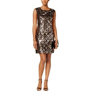 Connected Apparel Womens Cocktail Dress Sequined Sleeveless