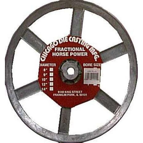"""Chicago Die Casting 1000A5 Single V Grooved Pulley, 10"""" x 1/2"""""""