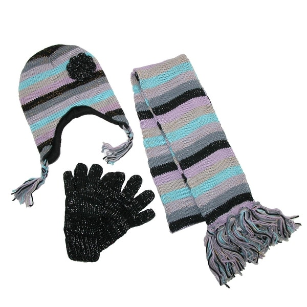 CTM® Women's Striped with Rosette Hat Gloves and Scarf Winter Set - One size