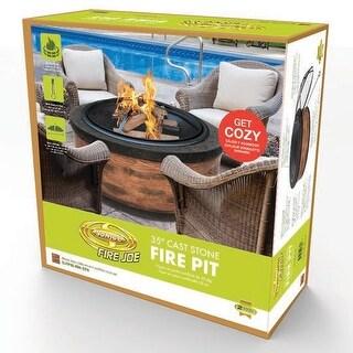 """Sun Joe SJFP35-RW-STN Fire Joe 35"""" Rustic Wood Cast Stone Fire Pit"""