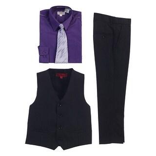 Gioberti Dark Purple Black Vest Pants Striped Tie Shirt 4 Pc Formal Set