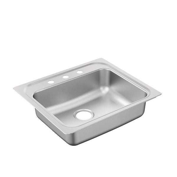 """Moen G201963BQ 2000 Series 25"""" Drop In Single Basin Stainless Steel Kitchen Sink with 3 Faucet Holes and Rear Drain"""