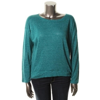 Eileen Fisher Womens Pullover Top Organic Linen Bateau Neck - m