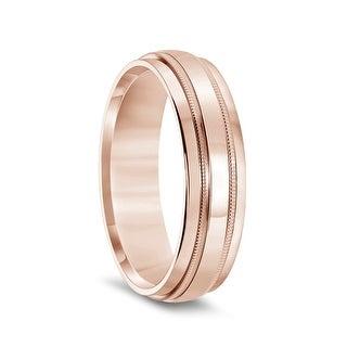 14k Rose Gold Polished Finish Raised Center Womens Milgrain Wedding Band With Flat Beveled Edges 4mm