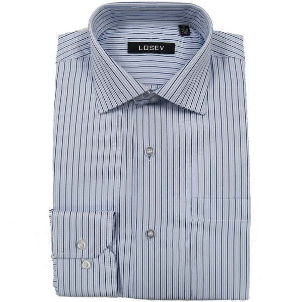 Men's Regular/Fashion Fit Long-Sleeve Multi Pattern Botton-Front Dress Shirt (Blue Stripe)