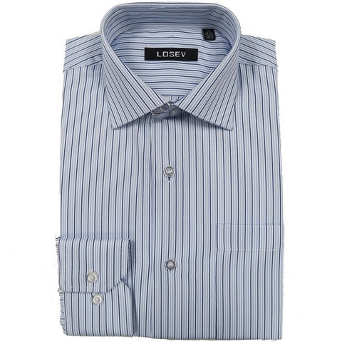 Men's Long Sleeve & Collar Dress Shirts (Blue Stripes)