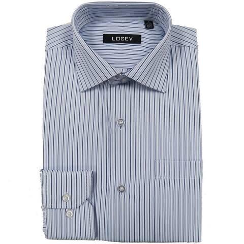 Men's Long Sleeve & Collar Dress Shirts (Blue Stripes)