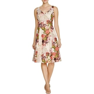 Adrianna Papell Womens Special Occasion Dress Metallic Floral Print