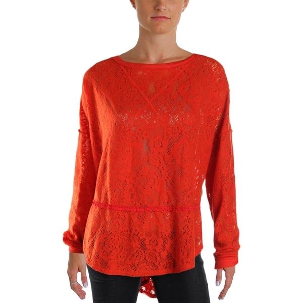 Free People Womens Sweatshirt Lace Long Sleeves