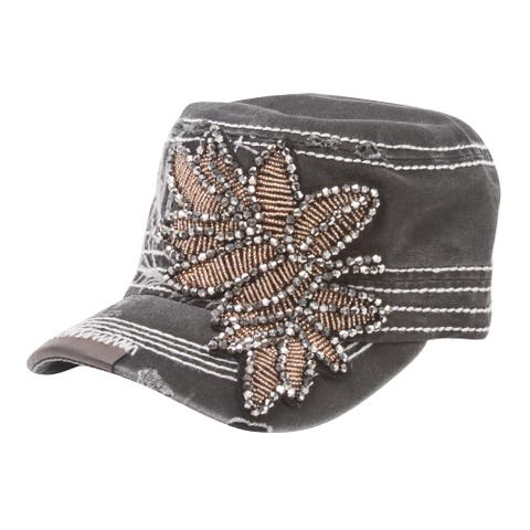 Womens Washed Distressed Cadet Cap w/ Bejeweled Leaf