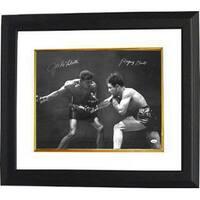Jake Lamotta signed Vintage BW Boxing 16x20 Photo Custom Framed Raging Bull signed on left  insc on