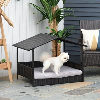 PawHut Wicker Dog House Raised Rattan Bed for Indoor/Outdoor with Cushion Lounge