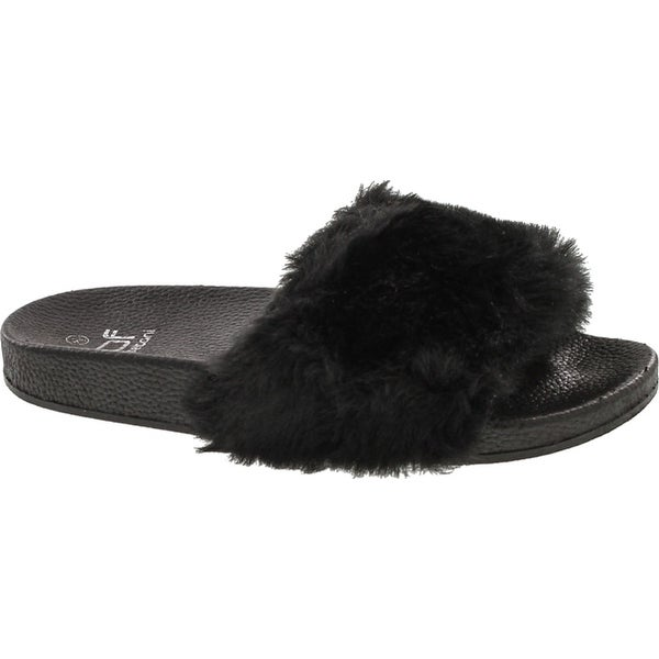 Betani Women's Farah-1 Pom-Pom Slipper Sandals - Black