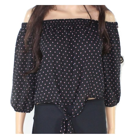 Polly & Esther Women's Large Floral Prit Tie Front Blouse