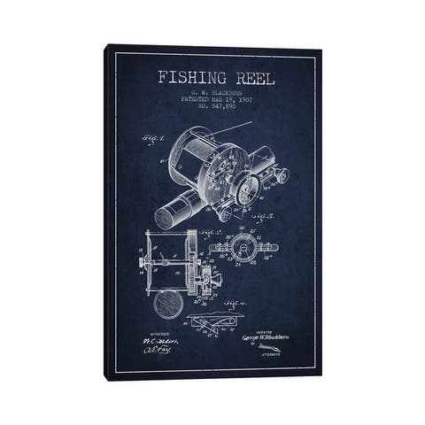 """iCanvas """"Fishing Reel Navy Blue Patent Blueprint"""" by Aged Pixel Canvas Print"""