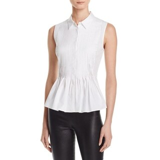 Theory Womens Dionelle Button-Down Top Pintuck Sleeveless