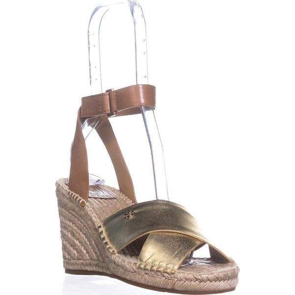 Tory Burch Bima Espadrille Wedge Sandals, Gold/Royal Tan