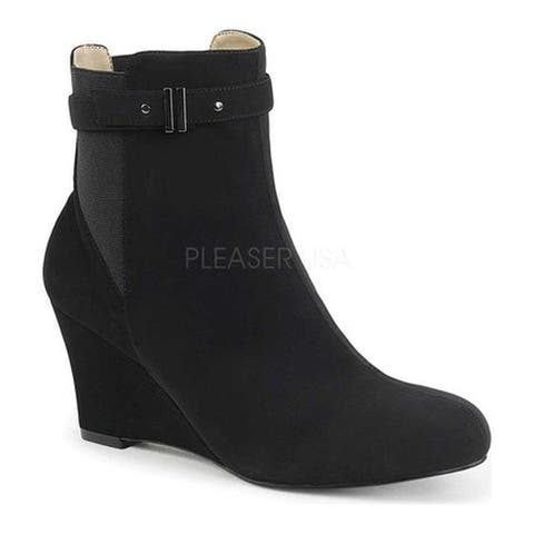 Pleaser Pink Label Women's Kimberly 102 Wedge Bootie Black Faux Nubuck Suede