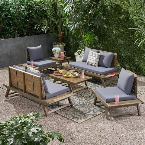 Sedona Outdoor 6 Seater Acacia Wood Chat Set with Side Table and Coffee Table by Christopher Knight Home
