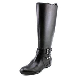 Enzo Angiolini Daniana Women Round Toe Leather Black Knee High Boot