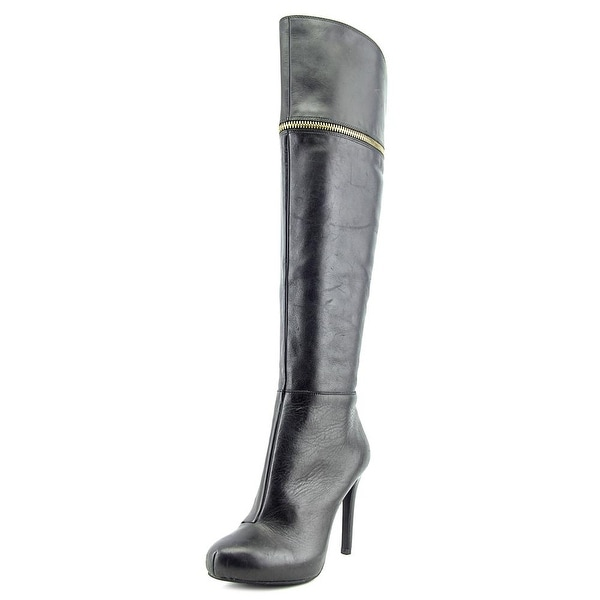 Bar III Cecile Women Round Toe Leather Black Over the Knee Boot