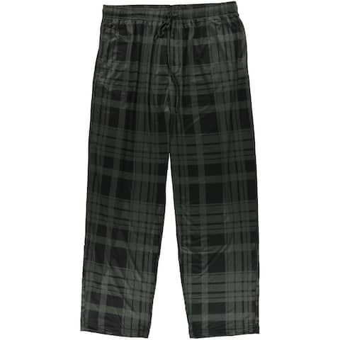 32 Degrees Mens Plaid Pajama Lounge Pants, green, Small
