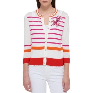 Tommy Hilfiger Womens Palm Beach Cardigan Top Sequined Embroidery Button-Down - XS