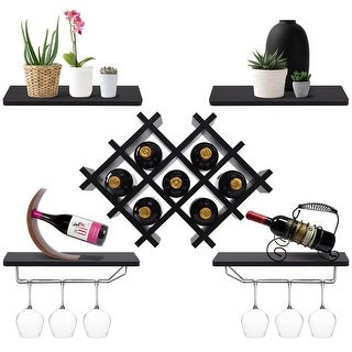 Gymax Set of 5 Wall Mount Wine Rack Set Storage Shelves and Glass Holder Black