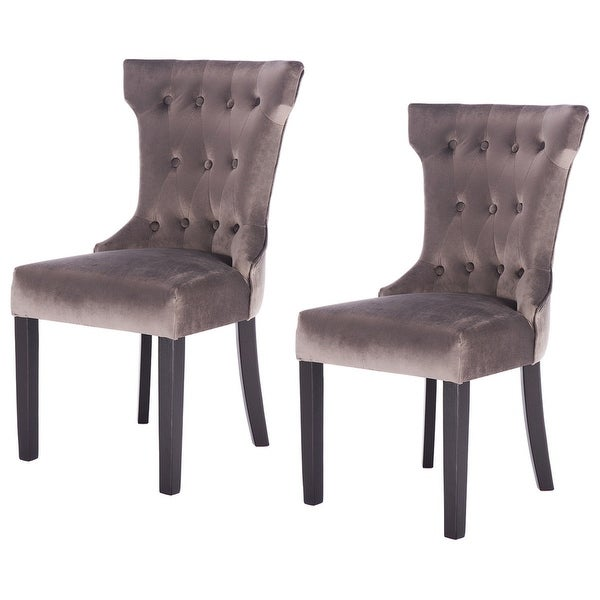Set Of 2 Accent Kitchen Dining Chair Leather Wood Tufted: Shop Gymax Set Of 2 Dining Chair Tufted Upholestered