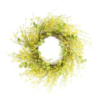 Pack of 2 Springtime Artificial Green and Yellow Mini Flower Wreaths 24""